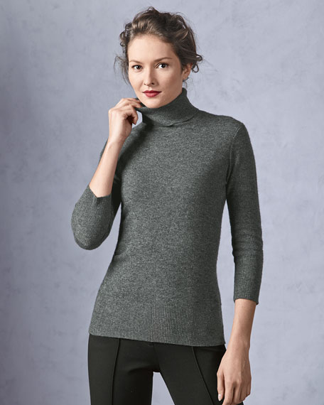 Cashmere Three-Quarter-Sleeve Turtleneck