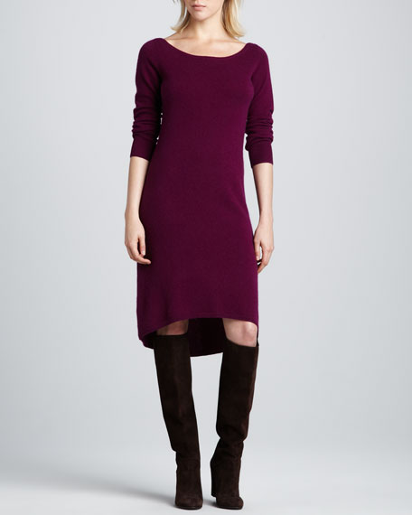 Bateau-Neck High-Low Cashmere Dress, Cayenne