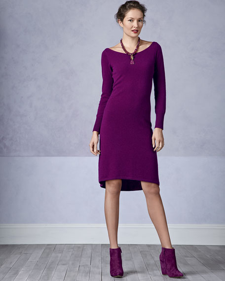 Bateau-Neck High-Low Cashmere Dress, Women's