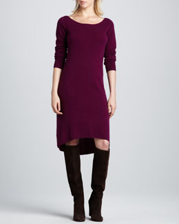 Neiman Marcus Bateau-Neck High-Low Cashmere Dress, Women's