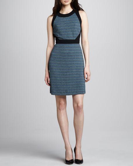 Tweed-Print Jersey Dress