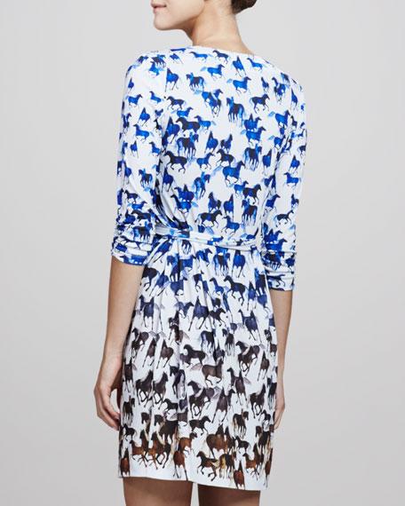 Horse-Print Wrap Dress
