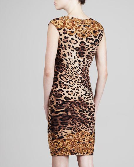V-Neck Mixed-Print Jersey Dress