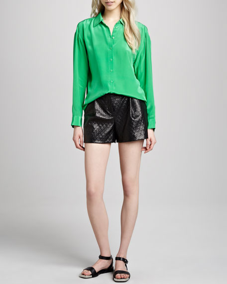 Diamond-Embossed Faux-Leather Shorts