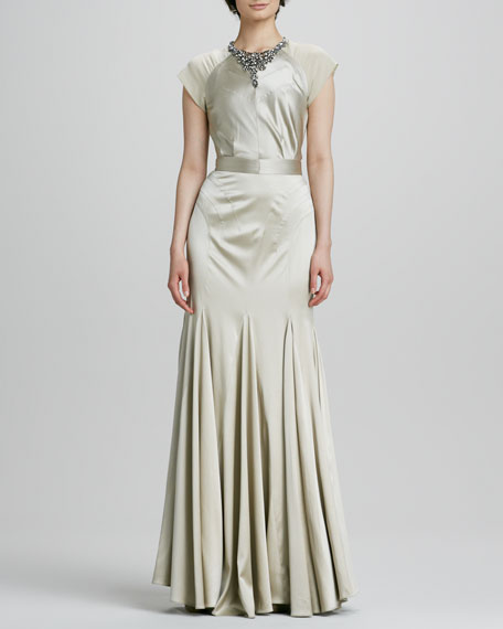 Jeweled-Neck Cap-Sleeve Gown
