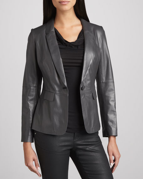 One-Button Leather Jacket, Flint