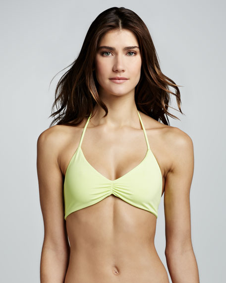 Strappy-Back Halter Bikini Top, Citrus