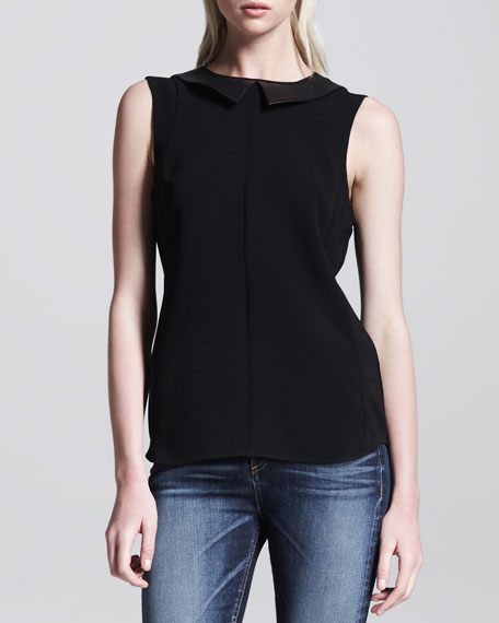 Astrid Leather-Collar Top