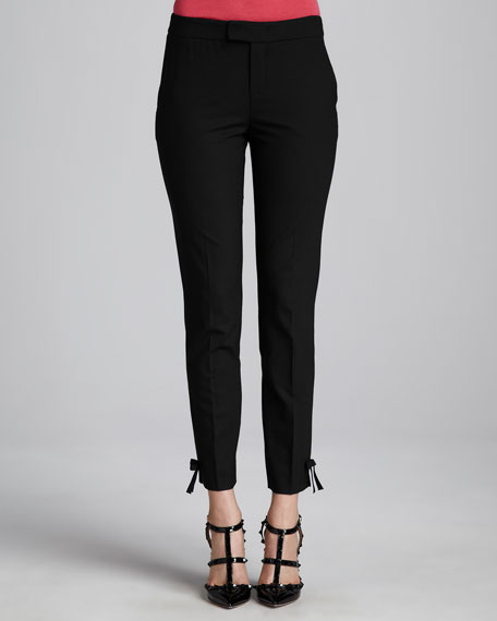 Slim Bow-Cuff Pants, Black