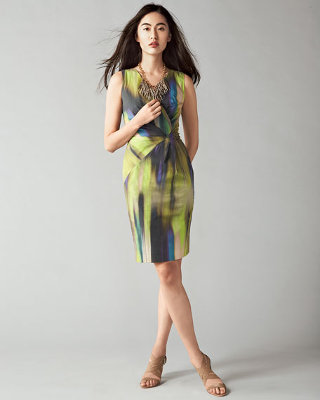 Laurel Sleeveless Warp-Print Dress