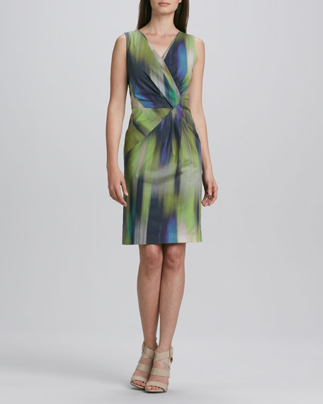 Laurel Sleeveless Warp-Print Dress
