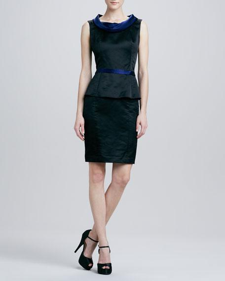 Sleeveless Seamed Peplum Dress