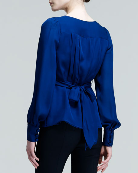 Sienne Belted Button-Front Blouse