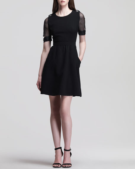 Luella Flared Crepe Dress