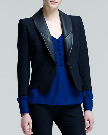 Santi Seamed Leather-Collar Jacket