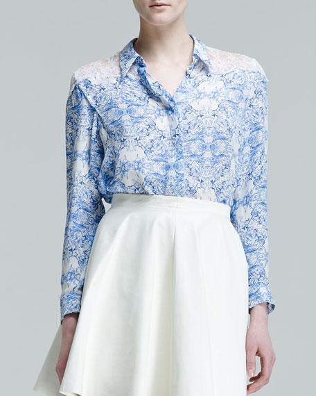 Claire Printed Lace-Shoulder Blouse
