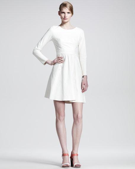 Full-Skirt Long-Sleeve Leather Dress