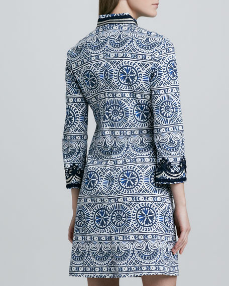 Tory Printed Embroidered Dress