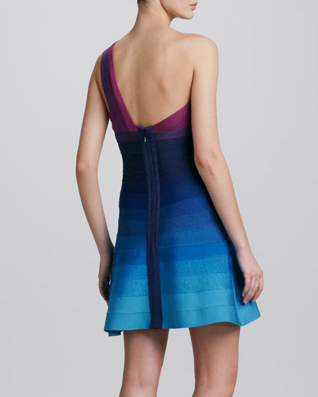 One-Shoulder Ombre Fit-and-Flare Bandage Dress