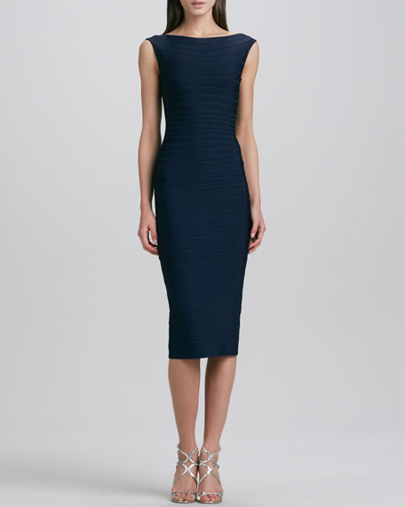 Boat-Neck Below-Knee Bandage Dress