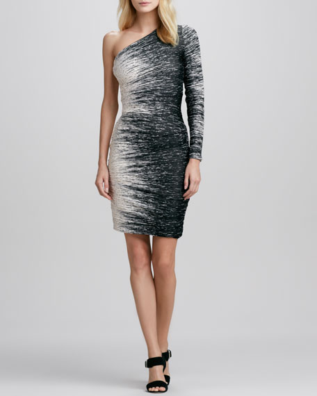 Windlines One-Sleeve Ruched Dress