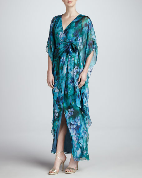 V-Neck Silk Chiffon Gown