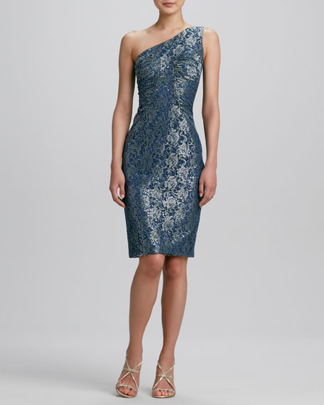 One-Shoulder Brocade Cocktail Dress