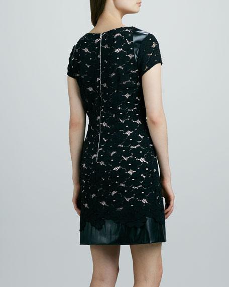 Lace & Faux-Leather Combo Dress