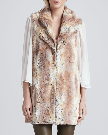 Annistyn Long Faux-Fur Vest