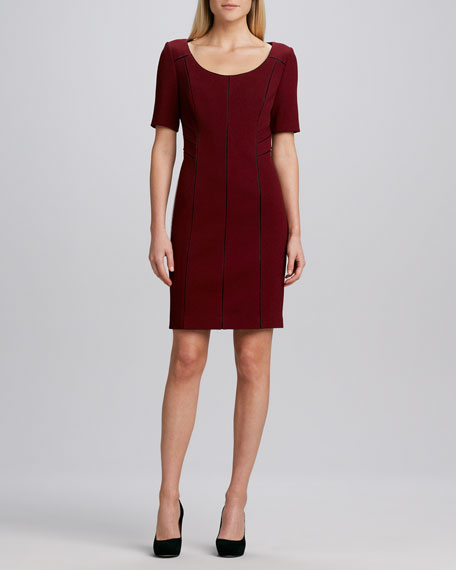 Seamed Keyhole-Back Sheath Dress