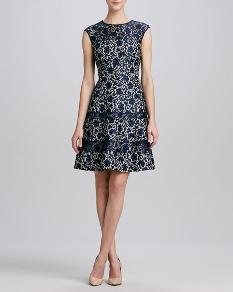 Fit-and-Flare Lace Cocktail Dress
