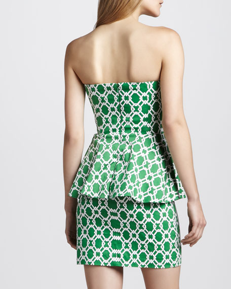 Pretzel Strapless Printed Peplum Dress