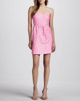 Julie Brown Skipper Strapless Anchor-Print Dress
