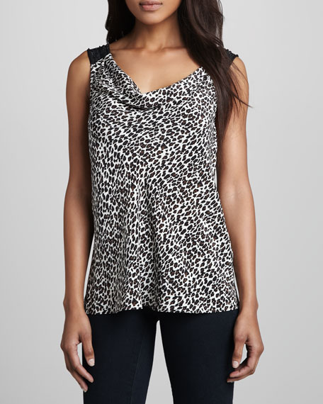 Printed Sequin-Strip Top