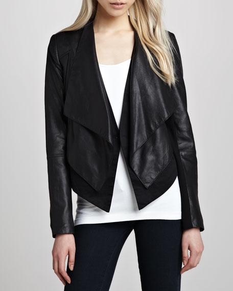 Cusp by Neiman Marcus Layered Ponte/Leather Jacket
