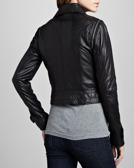 Quilted-Panel Convertible Leather Jacket