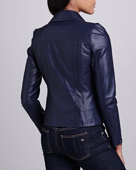 Single-Lapel Leather Jacket