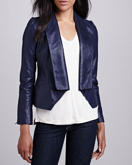 Single-Lapel Leather Jacket