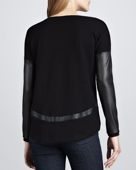 Perforated Leather-Sleeve Sweater