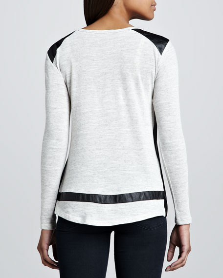 Long-Sleeve Faux-Leather-Panel Top
