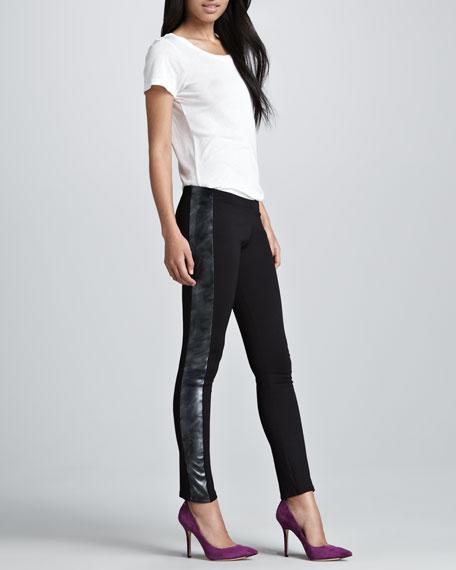 Metallic-Stripe Tuxedo Pants