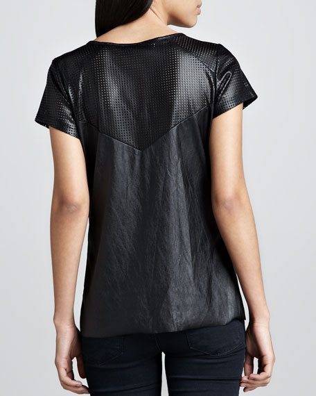 Mona Perforated-Sleeve Top
