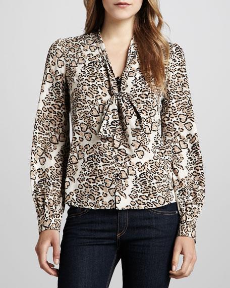 Suzie Leopard-Print Neck-Tie Blouse