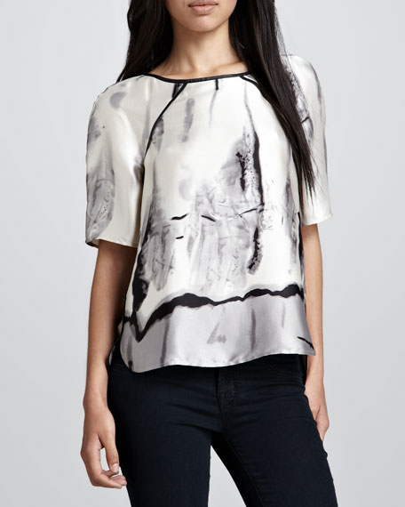 Wintry Mix Printed Half-Sleeve Tee