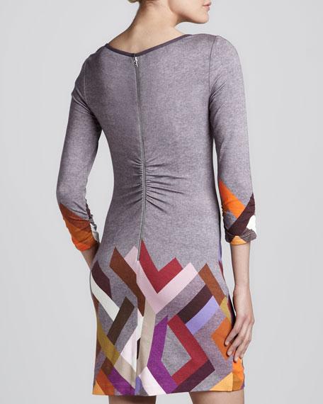 Geo Printed 3/4-Sleeve Slub Dress