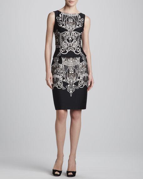 Sleeveless Bead-Print Dress