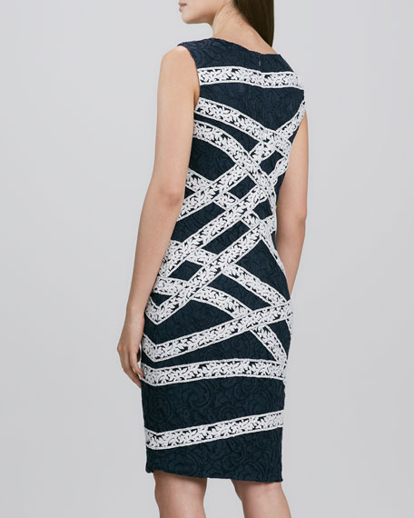Ribbon-Banded Lace Sheath Dress