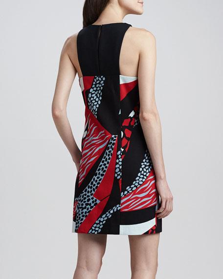 Cheetah Mixed-Print Shift Dress