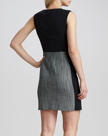 V-Neck Tweed-Skirt Shift Dress