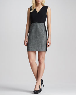 4.collective V-Neck Tweed-Skirt Shift Dress